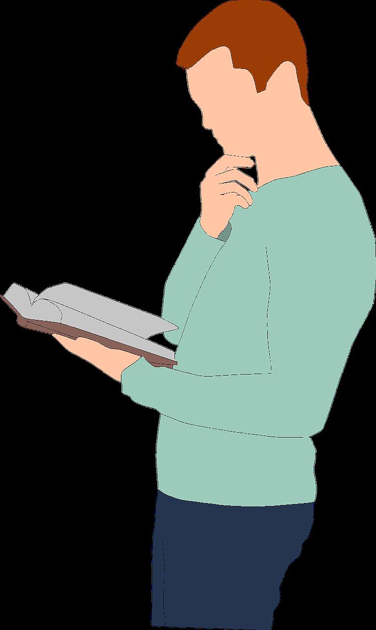 men, holding, reading